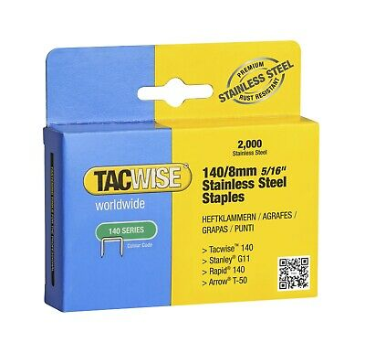 8mm / 140 Tacwise STAINLESS STEEL Staples  (2000) Upholstery Supplies (1216) • 6.25£