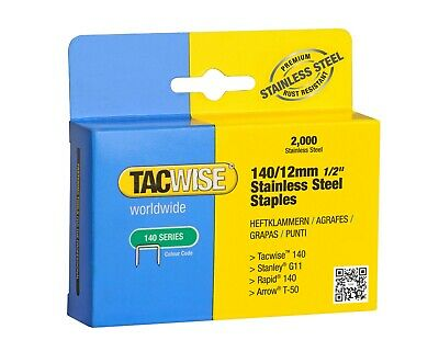 12mm / 140 Tacwise STAINLESS STEEL Staples  (2000) Upholstery Supplies(1220) • 9.40£