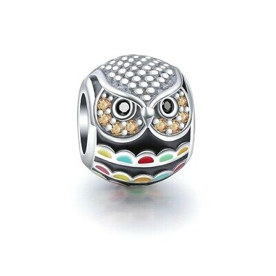 £12.95 • Buy Owl Charm Bead 925 Sterling Silver
