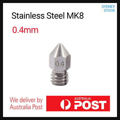 AU4.49 • Buy Stainless Steel MK8 Nozzle 0.4mm For 3D Printers 1.75mm Filament