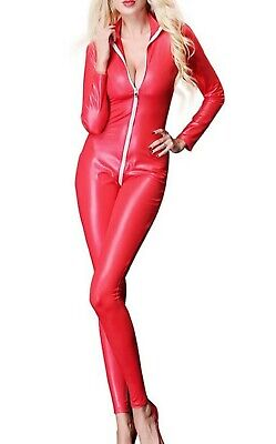 £26.99 • Buy Sexy Red Faux Latex Look Catsuit / Jumpsuit Crotch Zip Long Sleeves