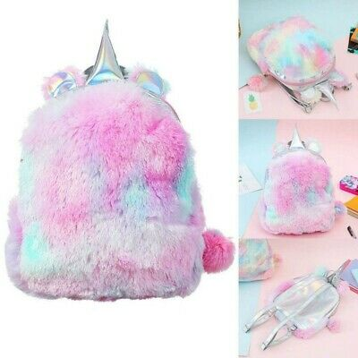 AU15.29 • Buy Unicorn Fluffy Backpack Women Girls Plush Rainbow School Bag Travel Rucksack