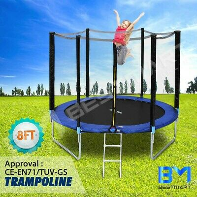 AU239.49 • Buy Genki 8ft Trampoline Round With Safety Net Spring Pad Cover Enclosure & Ladder