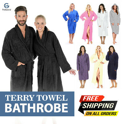 £16.97 • Buy 100% Egyptian Cotton Toweling Bath Robe Unisex Dressing Gown Luxury Terry Towel