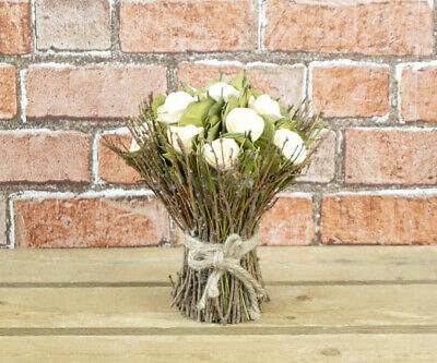 Stunning And Unique Wooden Floral Bouquet With Cream /yellow Roses • 16.99£