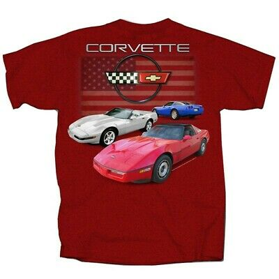 Corvette C4 Red White & Blue Flag Tee AMERICAN MUSCLE CARS T'shirt • 10.85£