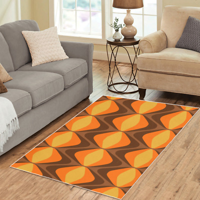AU96.91 • Buy Mod Area Rugs Retro Vintage 70s Funky Boho Carpet - 3 Sizes To Choose From