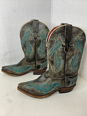 $49 • Buy MACIE BEAN Cowboy Boots 6.5M Womens Distressed Leather Embroi Western Boots