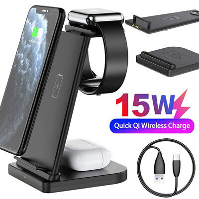 AU39.51 • Buy Wireless Charging Station Dock 3in1 Charger Stand For AirPods Apple Watch IPhone