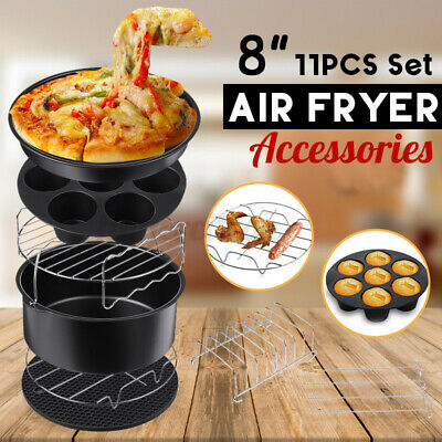 AU24.59 • Buy 11Pcs Set 8  Air Fryer Accessories Cake Pizza BBQ Roast Barbecue Baking Pan Tray