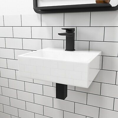 Square Wall Mounted / Countertop Basin One Tap Hole White Ceramic Bathroom Sink • 28.97£