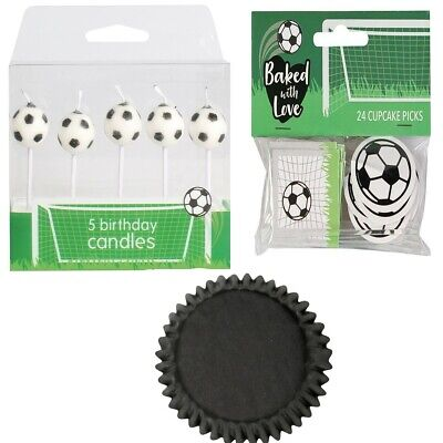 £2.99 • Buy Football Birthday Cake Party Pack Toppers Candles Cupcake Cases Picks Boy Girl