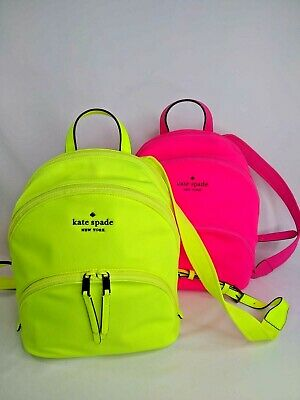 $ CDN153.11 • Buy Kate Spade New York Karissa Nylon Medium Backpack Bag Radiant Yellow And Pink