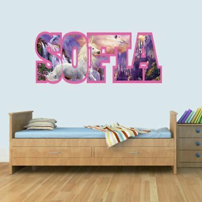 UNICORN Childrens Name Wall Art Decal Vinyl Stickers For Boys/Girls Bedroom • 19.99£