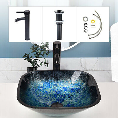 Bathroom Basin Sink Square Tempered Glass Countertop Hand Wash Bowl Waste Tap • 57.99£