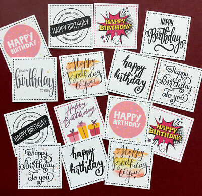 """£1.09 • Buy 14 HAPPY BIRTHDAY Sentiments SMALL 3cm (1.25"""") Squares Hand Made Card Toppers"""