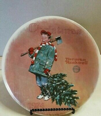 $ CDN6.29 • Buy Norman Rockwell Collector Plate Scotty Gets His Tree Christmas 1974