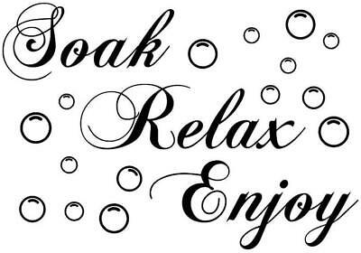 Home Artwork Wall Decal Stickers Soak Relax Enjoy Bathroom Vinyl • 3.49£