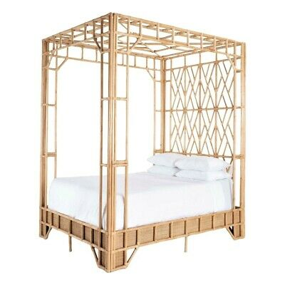 AU3100 • Buy Andorra  Asian Style Solid Mango Wood/rattan 4 Poster Queen Bed Natural