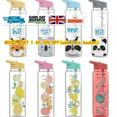 Water Bottle With Straw Plastic BPA Free Leakproof Sports Portable Drinks Mugs- • 4.56£