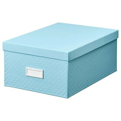 Ikea Pallra 35cm Blue Storage Box With Lid Desk Organiser File Office Home Chest • 7.89£