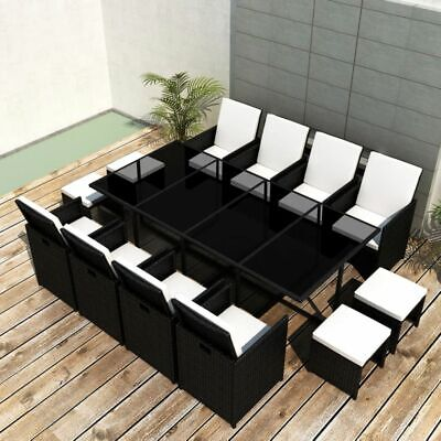 33 Piece Outdoor Dining Set Black Poly Rattan Garden Furniture Decor New Z5I9 • 952.99£