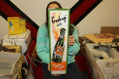 $ CDN44.29 • Buy Large  Fresh Up  With 7Up 7 Up Soda Pop Gas Oil 24  Porcelain Metal Sign