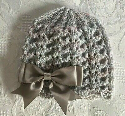 NEW  Newborn  Hand Knitted Grey Twinkle Wool Baby Girls  Beanie Hat   • 4.10£