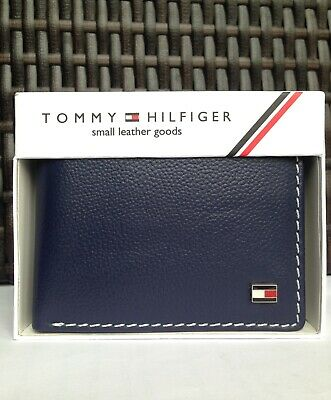 £17.99 • Buy Mens Leather Wallet 'Tommy Hilfiger' NAVY BLUE, Bifold, Coin Pouch, Card Slott