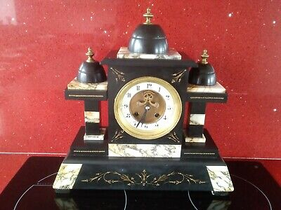 Antique Architectural Large Slate And Marble Mantle Clock.Working. • 149.99£