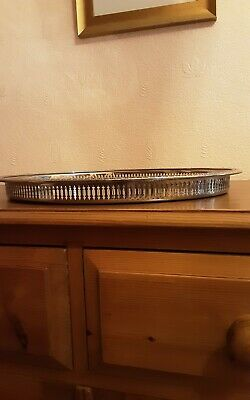 £24.95 • Buy Cavalier Silver Plated Oval Tray With Decorative Fretted Edges - Very Nice Piece