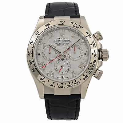 $ CDN42937.36 • Buy Rolex Cosmograph Daytona 18K White Gold Leather Meteorite Dial Mens Watch 116519
