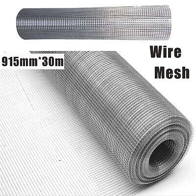 A Rectangle 915mm*30m Welded Wire Mesh Fencing Roll 25mm*25mm Hole Size UK • 44.10£