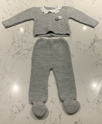 Valentina Baby Boy Knitted Spanish Set Suit Outfit Grey 3-6 Months Traditional • 12.95£