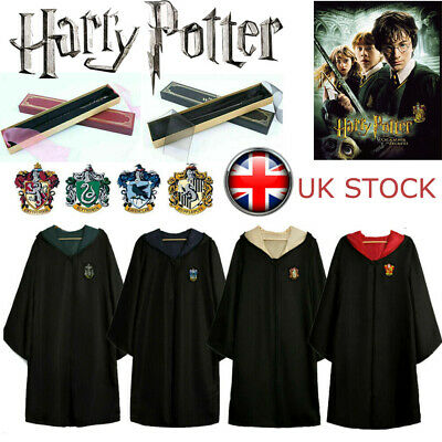Harry Potter Gryffindor Wizard Cape Cloak & Wands Fancy Dress Cosplay Costume UK • 9.99£