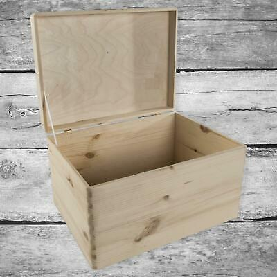 Large Plain Unpainted Wooden Chest Trunk Storage Box With Hinged Lid 39x29x23cm • 27.95£