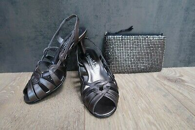 NEW UK 3/35 ZODIACO Italian Leather Strappy Sandals Pewter Grey & Purse/Bag £75 • 29.75£