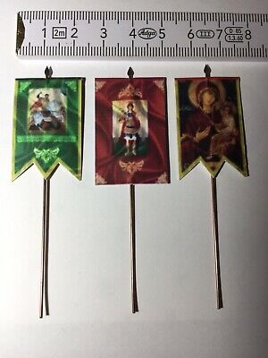 £7.49 • Buy 766) 3x 28mm Dark Ages Crusades Medieval Renaissance Religious Banners +flagpole