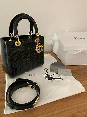 Christian Dior Lady Dior Black Patent Lambskin Bag Medium With Box And Dustbag • 2,650£
