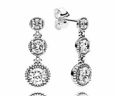 Genuine Pandora Silver Eternal Elegance Drop Earrings  290742CZ  S925 ALE  • 18.49£