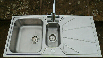 Used Astra Cast 1.5 Bowl Stainless Steel Kitchen Sink With Chrome Mixer Tap • 29.99£