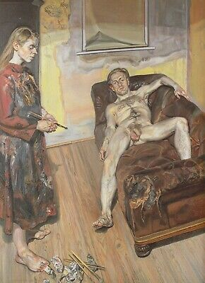 Painter And Model Lucian Freud Print In 11 X 14 Inch Mount SUPERB • 21.95£
