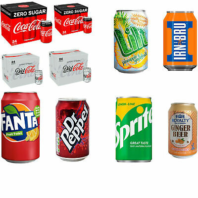 Cold Drinks, Fizzy Drink Cans, Coca Cola, Sprite, Diet Coke Pack Of 24 330 Ml • 15.95£
