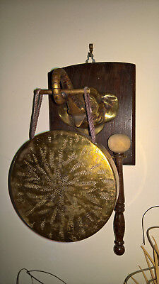 Vintage Brass Gong Elephants Head Trunk Hanger On Wooden Plaque Asia Old Antique • 55£
