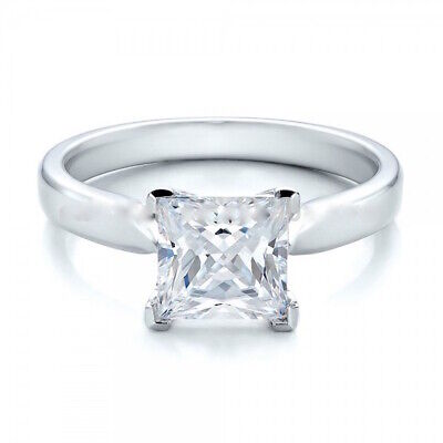 Princess Cut Sterling Silver 925 Solitaire Ring UK Seller • 12.99£