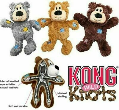 £11.99 • Buy KONG Dog Puppy Toy Wild Knots Bear Plush Squeaky Rope Tug Teddy Comfort Toy