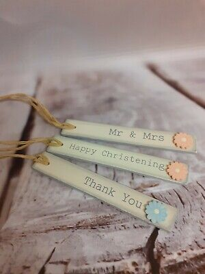 £0.99 • Buy * * SALE * *   East Of India Wooden Gift Tag - Christening, Thank You, Mr & Mrs