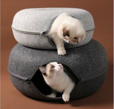 Donut Cat House Cat Cave Donut Bed Suitable For Small Pet Tunnel Cave Light Grey • 18.50£