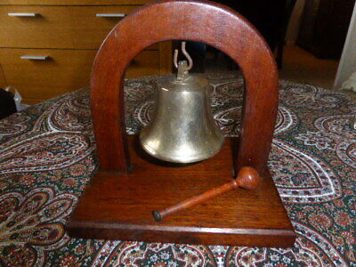Vintage Oak And Solid Brass Bell And Gong • 60£