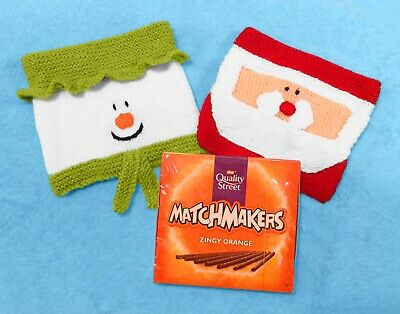 £2.99 • Buy KNITTING PATTERN - Christmas Santa And Snowman Chocolate Matchmakers Cover 18cms